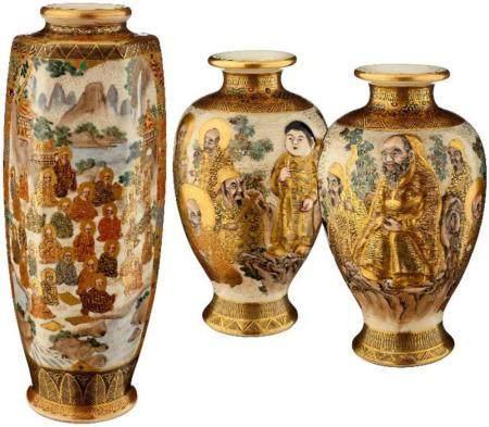 Drei kleine Satsuma Vasen