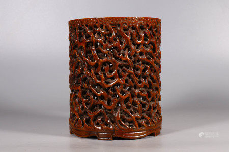 Reticulated Bamboo Root Brushpot