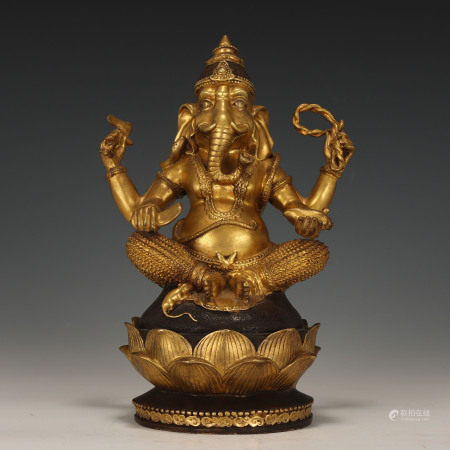 Bronze Gilt Seated Ganesh