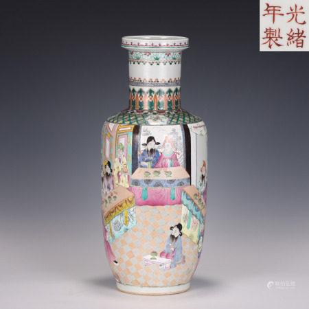 Famille Rose Figural Mallet Vase