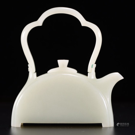 Carved White Jade Teapot