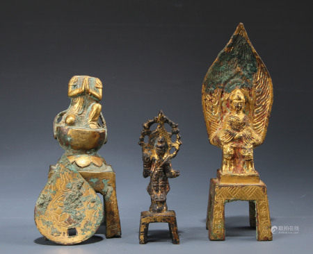 A Group of Three Standing Buddha Tang Dynasty