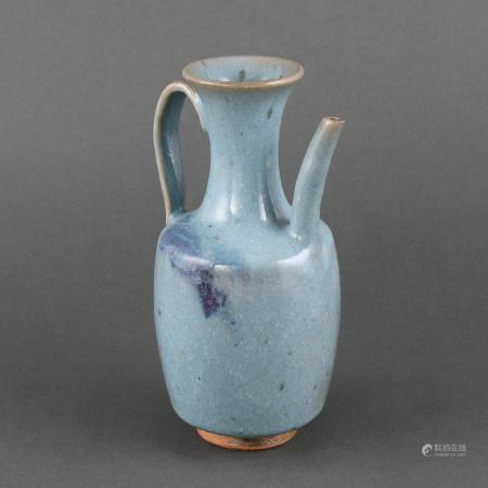 A BLUE GLAZED PURPLE-SPLASHED'JUN' EWER