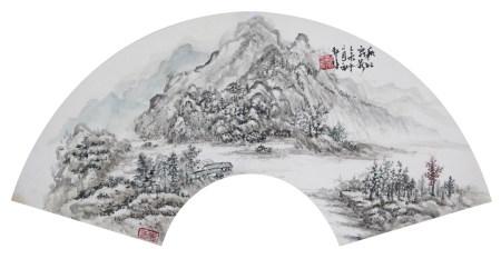 朱梅邨 山水扇面