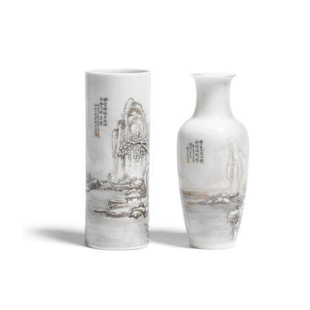 Two small grisaille decorated porcelain vases  Republic period or later (2)