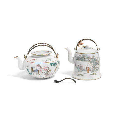 Two enameled porcelain teapots with covers Republic period (3)