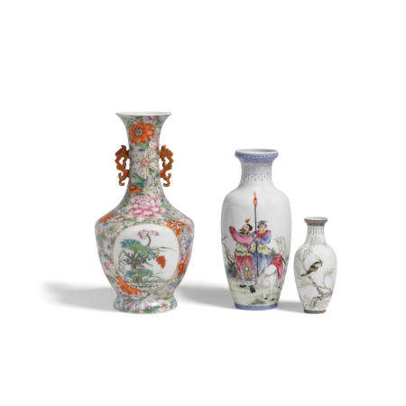 Three enameled porcelain vases Republic period (3)