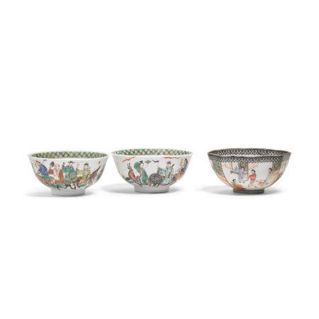 Three enameled porcelain bowls  Late Qing/Republic period (3)