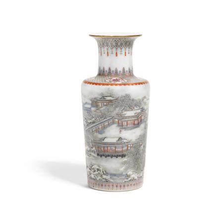 An enameled porcelain rouleau Vase  Qianlong mark, Republic period