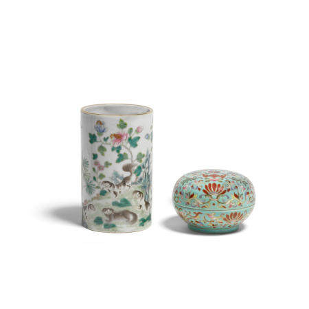 Two famille rose enameled porcelains Late Qing/Republic period (2)