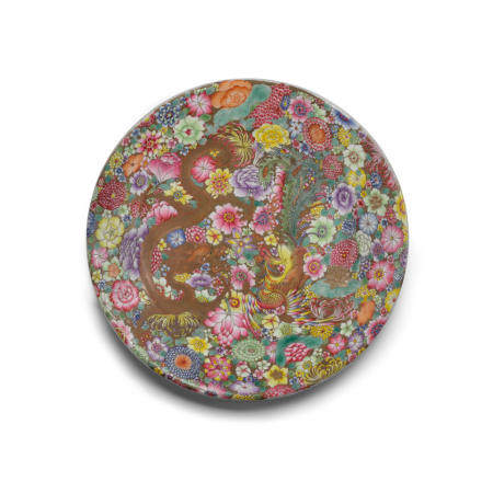 A famille rose enameled porcelain dish  Qianlong mark, Republic period or later