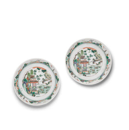 A pair of famille verte enameled porcelain chargers Kangxi marks, 19th century (2)