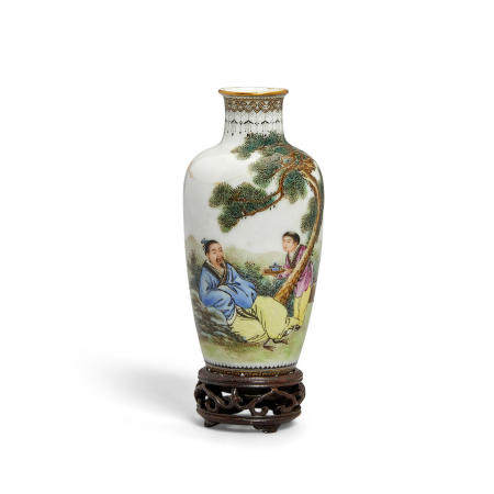 A small polychrome enameled eggshell porcelain vase Hongxian mark, Republic period or later