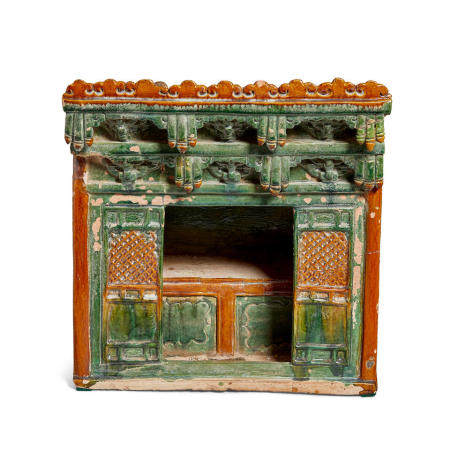 A glazed pottery model of a marriage bed Ming dynasty