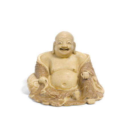 A marble slip-decorated figure of Budai  Late Ming dynasty