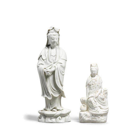 Two Dehua figures of Guanyin The standing Guanyin: 18th/19th century; the seated Guanyin: 20th century  (2)