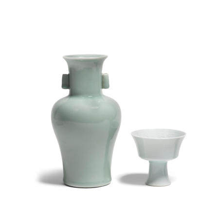 A celadon glazed porcelains Yongzheng marks The vase: 20th century, the stem cup: late Qing/Republic period (2)