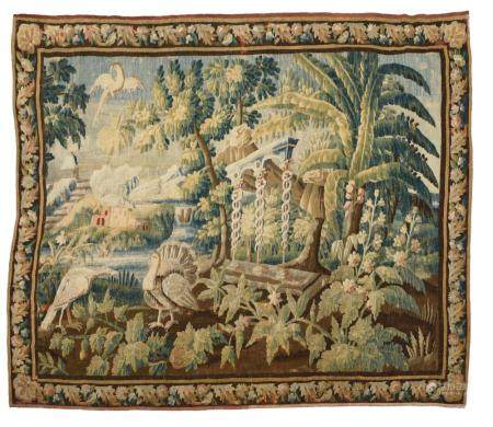 Wool and silk tapestry, exotic greenery based on Pillement's prints