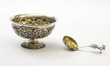 Silver footed bowl and spoon
