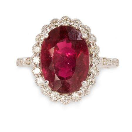 A pink tourmaline, diamond and eighteen karat white gold ring