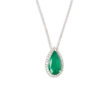 An emerald, diamond and eighteen karat white gold pendant necklace