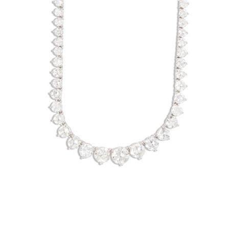 A diamond and eighteen karat white gold rivière necklace