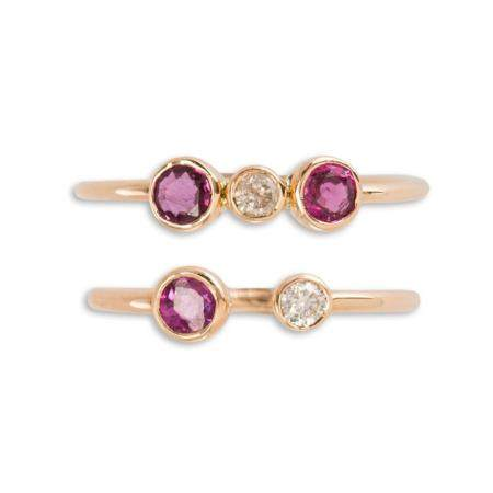 A pair of ruby, diamond and rose gold stacking rings