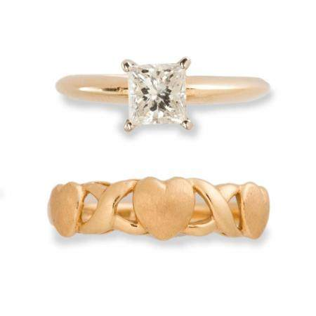 A diamond and fourteen karat gold ring and gold band ring