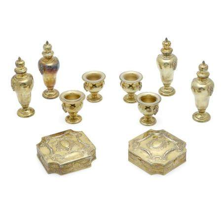 A GROUP OF ENGLISH SILVER-GILT TABLE ARTICLES London, marked 19th century