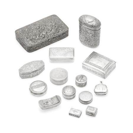 A GROUP OF AMERICAN, ENGLISH, AND CONTINENTAL SILVER BOXES by various makers, 19th-20th centuries