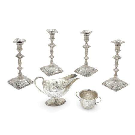 A GROUP OF SIX ENGLISH SILVER TABLE ARTICLES by various makers, London, 18th-19th centuries