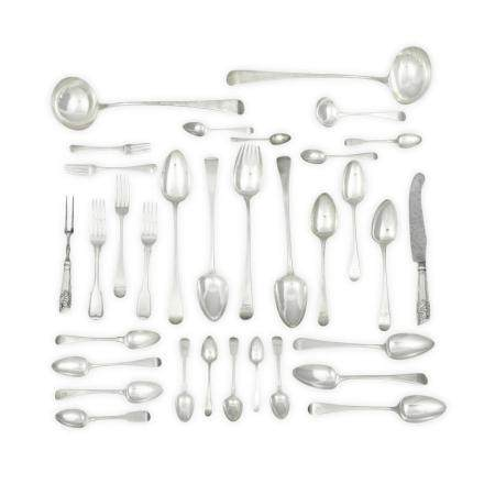 AN ASSEMBLED ENGLISH AND SCOTTISH SILVER FLATWARE SERVICE by various makers, 18th-19th centuries
