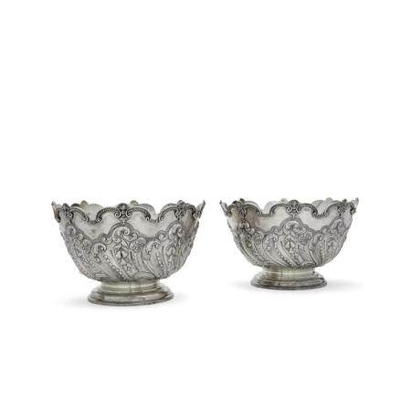 A PAIR OF ENGLISH SILVER MONTEITHS with spurious 18th century marks, London