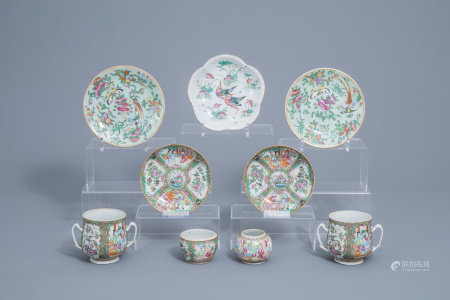 A varied collection of Chinse Canton and famille rose porcelain, 19th C.