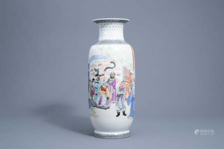 A Chinese famille rose vase with a narrative scene, Qianlong mark, Republic, 20th C.