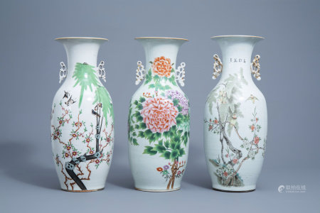 Three Chinese famille rose vases with birds and flowers, 19th/20th C.