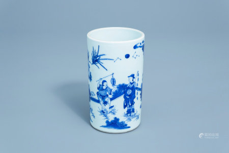 A Chinese blue and white brush pot with figures in a landscape, 20th C.