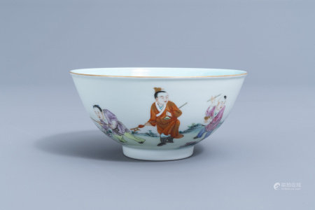 A Chinese famille rose bowl with playing children all around, Qianlong mark, 20th C.