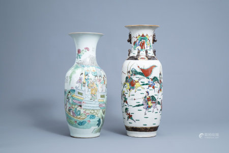 A Chinese famille rose double design vase and a Nanking crackle glazed famille verte 'warrior' vase, 19th/20th C.