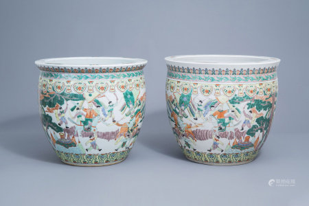 A pair of Chinese famille verte 'warrior' fish bowls, 20th C.