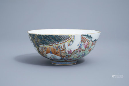 A Chinese famille rose bowl with a festive procession all around, Jiaqing mark, 20th C.
