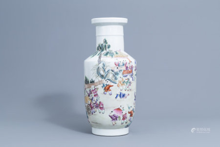 A Chinese famille rose '100 boys' vase, Qianlong mark, 20th C.