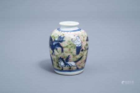 A Chinese blue, white, red and green snuff bottle with mythical creatures, Yongzheng mark, 19th/20th C.