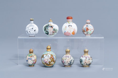 Eight Chinese erotical porcelain, glass and Canton enamel snuff bottles, 20th C.