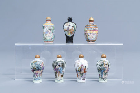 Seven Chinese famille rose snuff bottles with erotical design, 20th C.
