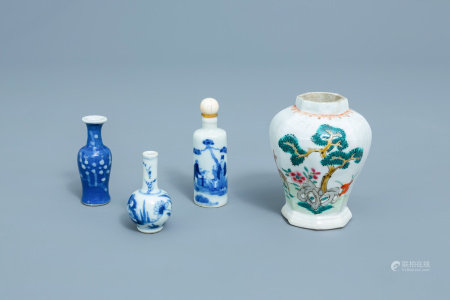 Three Chinese blue, white and famille rose doll's house miniature vases and a blue and white snuff bottle, Kangxi and later