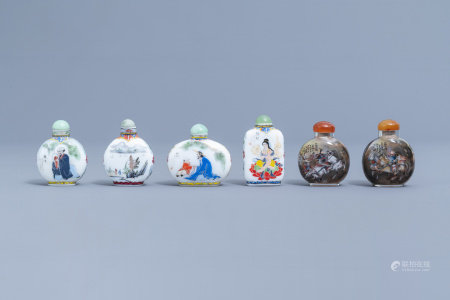 Two Chinese reverse-painted glass snuff bottles and four in enamelled glass, 20th C.
