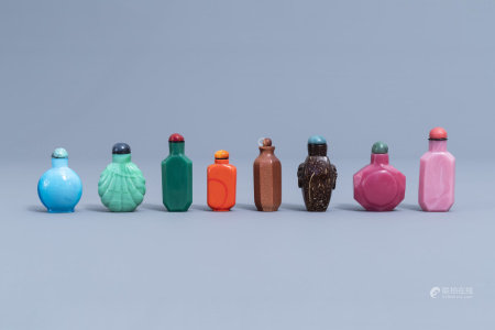 Seven Chinese monochrome glass snuff bottles and one in coconut, 20th C.