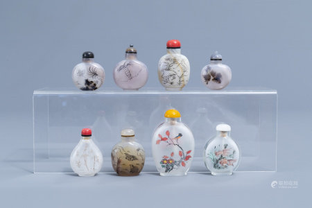 Eight Chinese agate and glass snuff bottles, 20th C.
