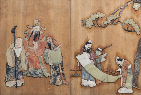 A pair of Chinese wooden panels with soapstone inlaid scholars and Immortals decor, 19th C.